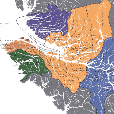 Map of British Columbia with Kwakwaka'wakw territory showing First Nations that speak Kwakwala.