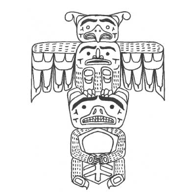 Line drawing of totem pole showing a bear holding a copper and a Thunderbird.