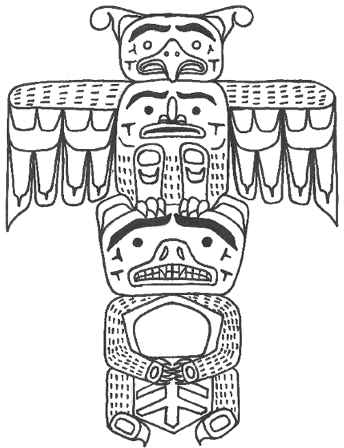 Line drawing for totem pole shows pattern and detail markings of Bear holding a copper and a Thunderbird.