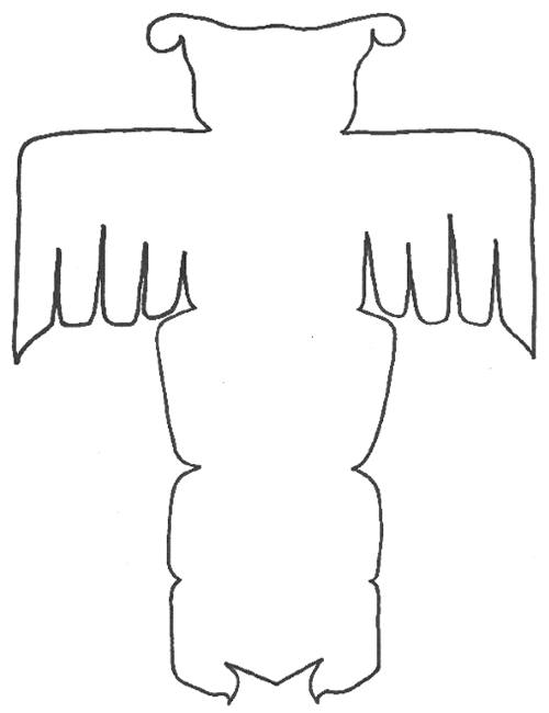 Line drawing for totem pole shows outline of Bear holding a copper and a Thunderbird.