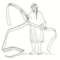 Line drawing of a young woman in historic clothing separating layers from a strip of cedar bark.