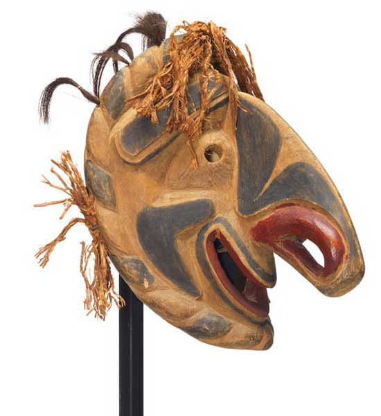 Nułamał or fool dancer, clown like expression, enormous downturned nose, red nostrils and lips, black markings with cedar and hair trim.