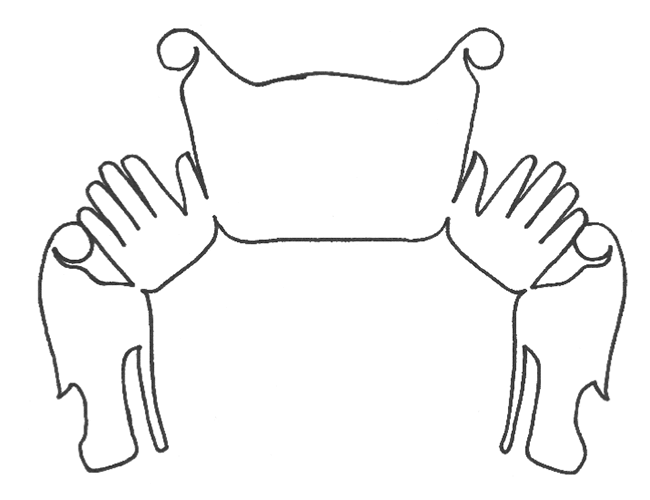 Line drawing shows outline of a Sisiyutł or double-headed serpent.