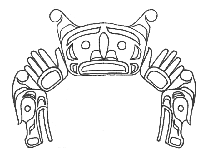 Line drawing shows a Sisiyutł or double-headed serpent with details of face, hand and serpent head.