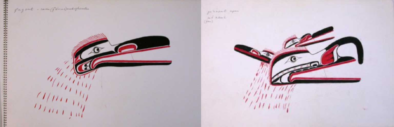 Two drawings in black and red from Mungo Martin's sketchbook of Raven-at-the-North-End-of-the-World and Four-faced Mask
