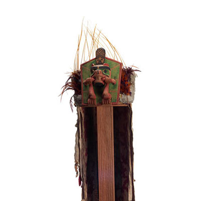 Yaxwiwe' or Beaver Headdress, beaver on frontlet shown with twig in mouth, tail rising above, long ermine and cloth head cover, sea lion whisker crown.