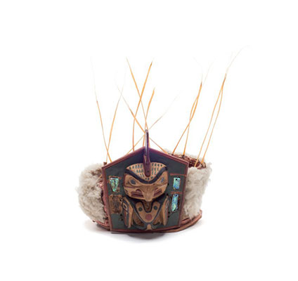 Yaxwiwe' or killer whale frontlet, pentagonal shape, sea lion whiskers and fur trim, abalone inlays.