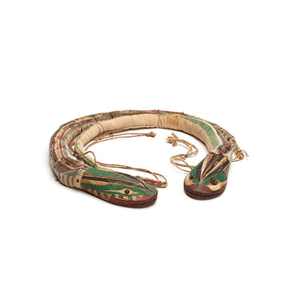 Belt in the shape of a snake in two parts, with two heads, striped cloth band, carved wooden heads, tied with cords.