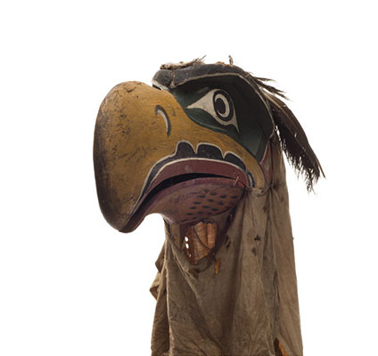 Kwigwis or eagle mask, yellow beak, blue patches around eyes, red outline mouth, black cotton head covering.