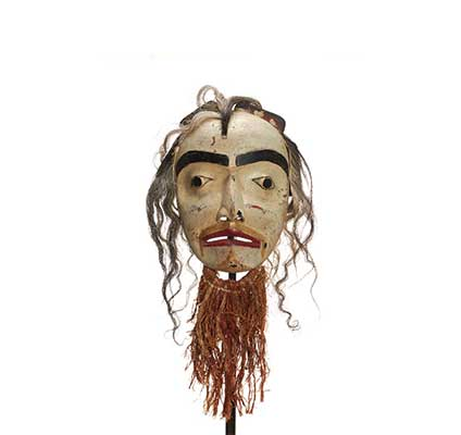 Atłakima or Dance of the Forest Spirits Mask, white-washed face with cedar bark beard, natural hair.