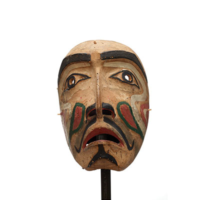 Hayakantalał or speaker mask, carved cedar, largely unpainted with black, red, white and green markings.