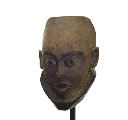 Gangananamis or children of the land mask, tall forehead, elfin appearance, mostly unpainted.