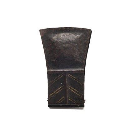T'lakwa Copper, small and short in size, fine condition with three rows of chevron pattern decoration below an embossed cross shape.