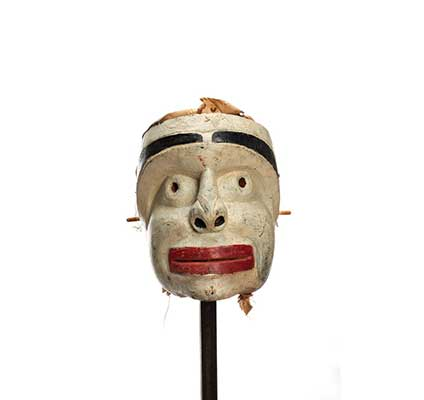 Atłakima or Forest Spirits Mask, white- washed cedar, square face shape with wide thick bright red lips, dark eyebrows with some cedar trim for hair.
