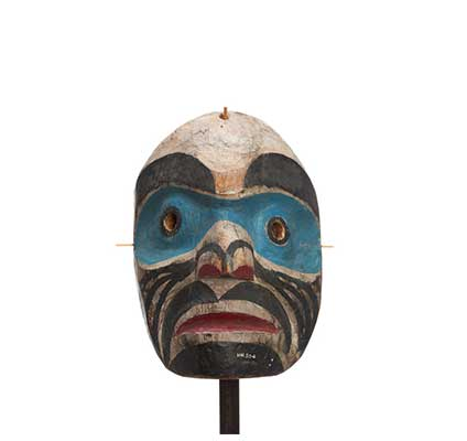 Hayakantalał spearker mask, light blue bands around eyes, black stripes on cheek, chin patch eyebrows and moustache.