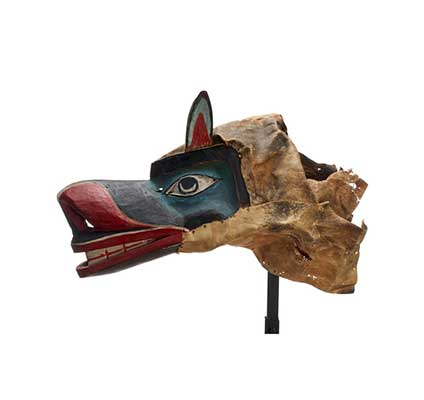 Xisiwe' WOLF MASK bright blue surrounding eyes, large upright ears, red trip around mouth and nose, menacing appearance.