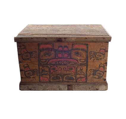 A Kawatsi or Treasure Box with lid, cedar with black and red ornamentation.