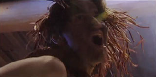 A close-up to the head of a dancer, his face is darkened with ash and he appears to be shouting, cedar bark adorns his hair.