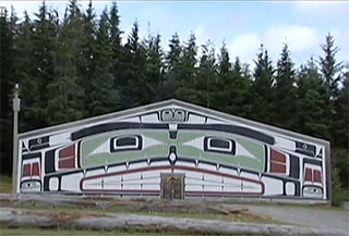 Front of the Big House in Alert Bay showing a brightly painted wall.